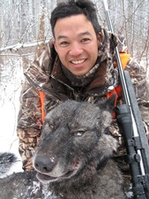 Tim's Black Timber Wolf at Riverside Lodge. Great hunt!
